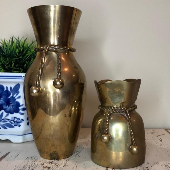 Set of 2 Brass Vases with Tassel Detail